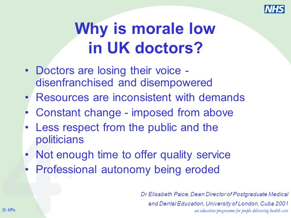 Why is morale low in UK doctors.