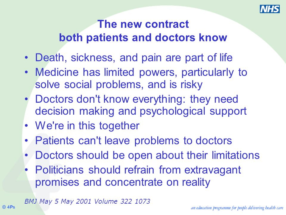 The new contract both patients and doctors know Death, sickness, and pain are part of life Medicine has limited powers, particularly to solve social problems, and is risky Doctors don t know everything: they need decision making and psychological support We re in this together Patients can t leave problems to doctors Doctors should be open about their limitations Politicians should refrain from extravagant promises and concentrate on reality BMJ May 5 May 2001 Volume 322 1073