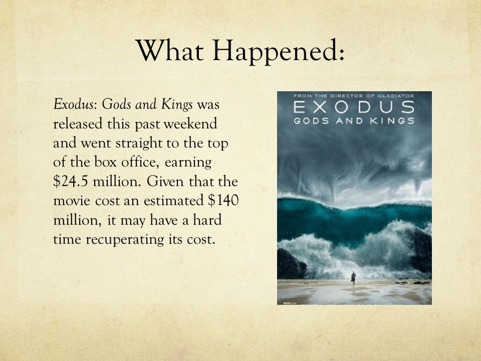 What Happened: Exodus: Gods and Kings was released this past weekend and went straight to the top of the box office, earning $24.5 million. Given that