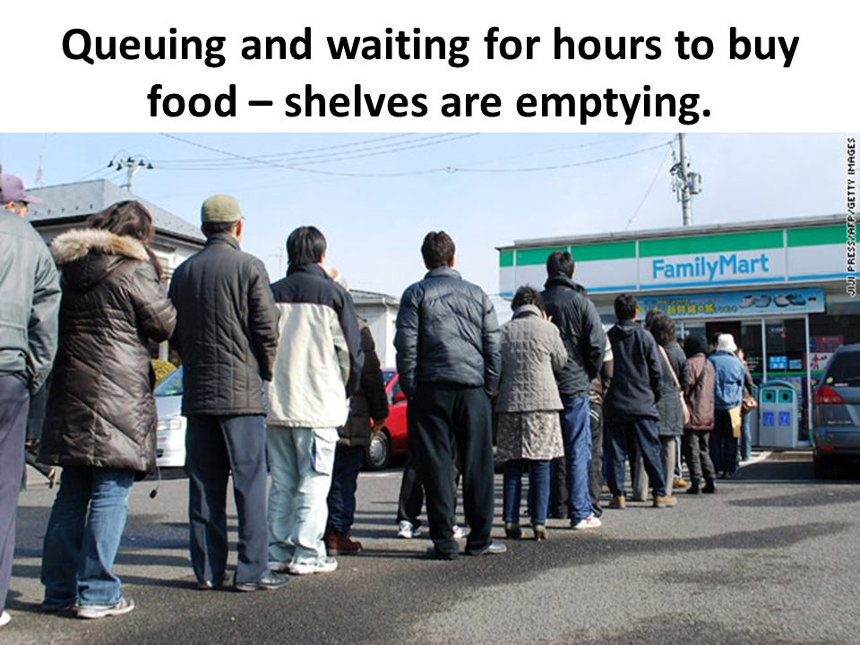 Queuing and waiting for hours to buy food – shelves are emptying.