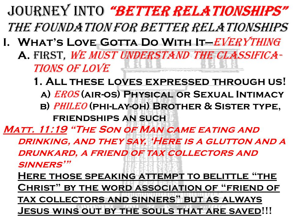 Journey into Better Relationships The Foundation for Better Relationships I.What's Love Gotta Do With It— Everything A.