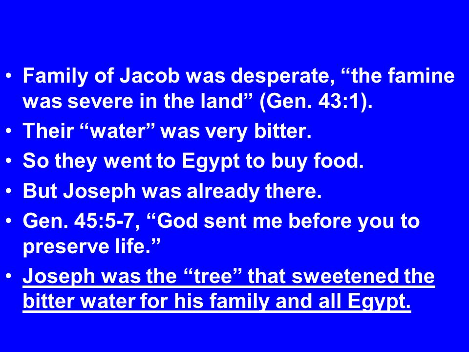 Family of Jacob was desperate, the famine was severe in the land (Gen.