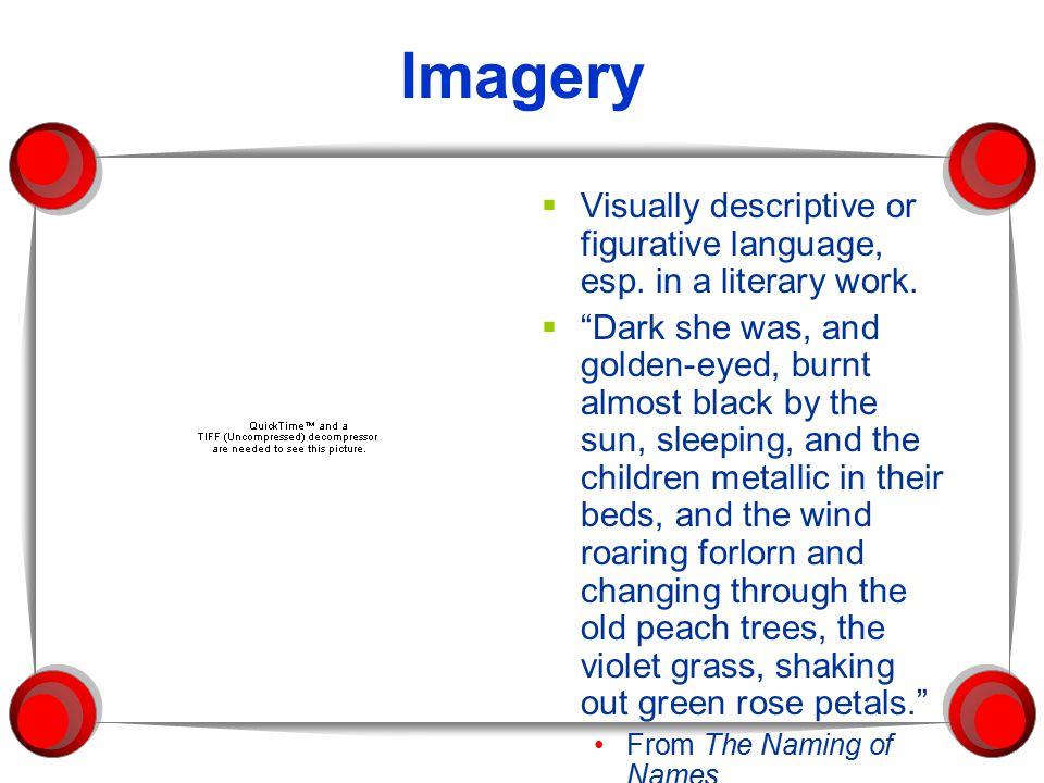 "Imagery  Visually descriptive or figurative language, esp. in a literary work.  ""Dark she was, and golden-eyed, burnt almost black by the sun, sleep"