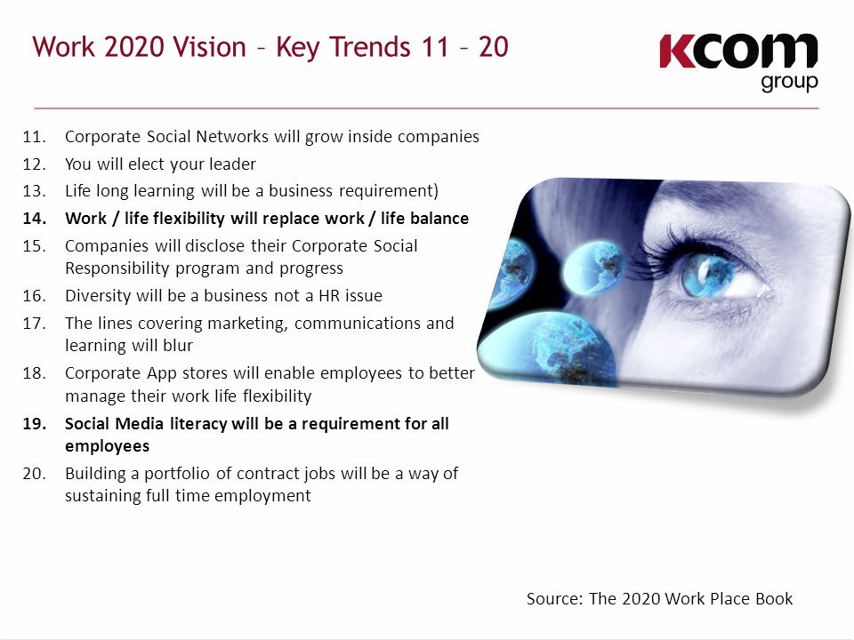 Work 2020 Vision – Key Trends 11 – 20 11.Corporate Social Networks will grow inside companies 12.You will elect your leader 13.Life long learning will be a business requirement) 14.Work / life flexibility will replace work / life balance 15.Companies will disclose their Corporate Social Responsibility program and progress 16.Diversity will be a business not a HR issue 17.The lines covering marketing, communications and learning will blur 18.Corporate App stores will enable employees to better manage their work life flexibility 19.Social Media literacy will be a requirement for all employees 20.Building a portfolio of contract jobs will be a way of sustaining full time employment Source: The 2020 Work Place Book