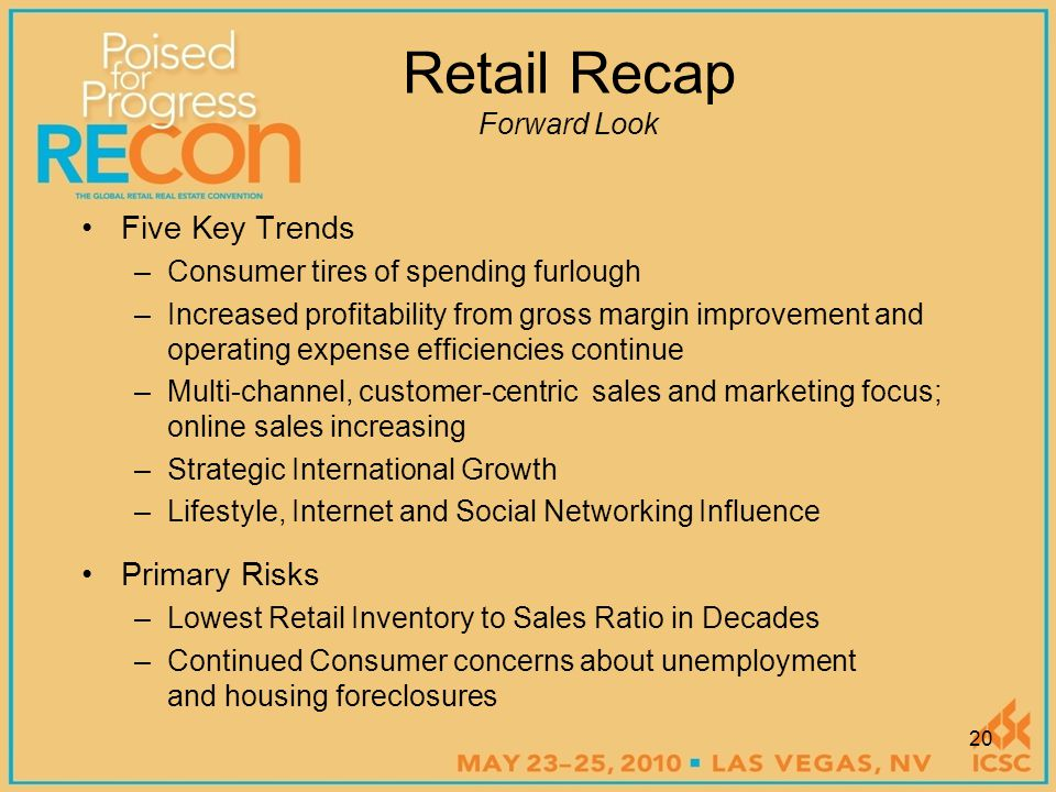 Retail Recap Forward Look Five Key Trends –Consumer tires of spending furlough –Increased profitability from gross margin improvement and operating expense efficiencies continue –Multi-channel, customer-centric sales and marketing focus; online sales increasing –Strategic International Growth –Lifestyle, Internet and Social Networking Influence Primary Risks –Lowest Retail Inventory to Sales Ratio in Decades –Continued Consumer concerns about unemployment and housing foreclosures 20