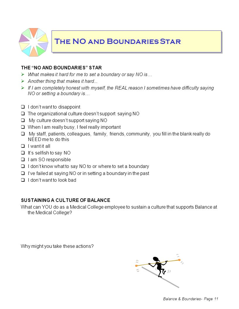 Balance & Boundaries- Page 11 The NO and Boundaries Star THE NO AND BOUNDARIES STAR  What makes it hard for me to set a boundary or say NO is…  Another thing that makes it hard...