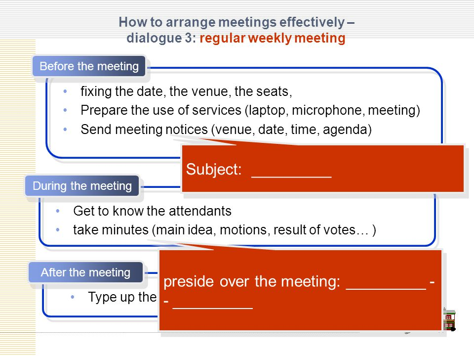 How to arrange meetings effectively – dialogue 3: regular weekly meeting Before the meeting fixing the date, the venue, the seats, Prepare the use of services (laptop, microphone, meeting) Send meeting notices (venue, date, time, agenda) After the meeting Get to know the attendants take minutes (main idea, motions, result of votes… ) During the meeting Type up the minute Distribute the minute Subject: _________ preside over the meeting: _________ - - _________