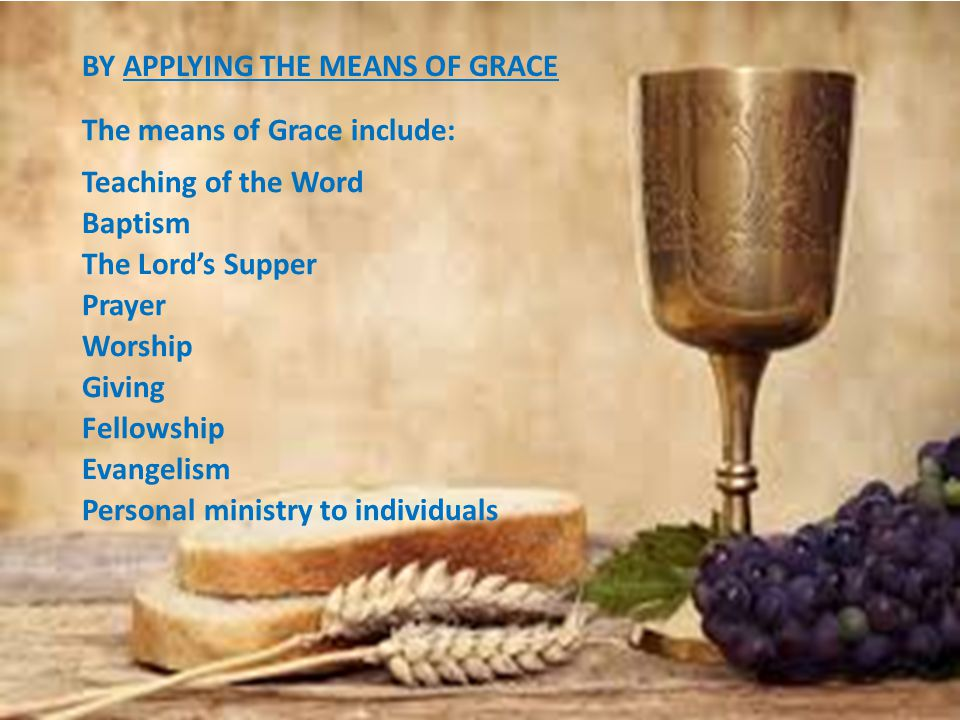 BY APPLYING THE MEANS OF GRACE The means of Grace include: Teaching of the Word Baptism The Lord's Supper Prayer Worship Giving Fellowship Evangelism Personal ministry to individuals
