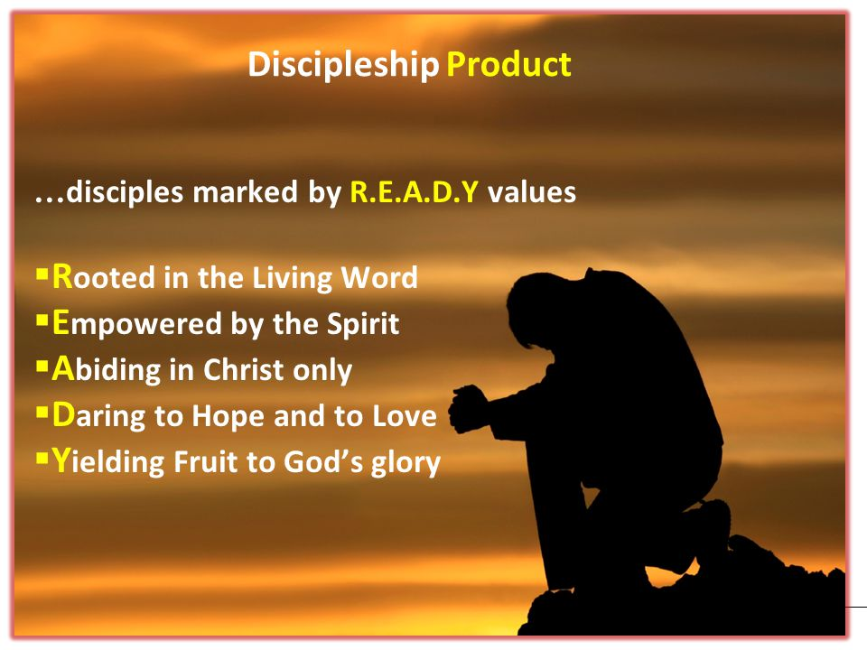 Discipleship Product … disciples marked by R.E.A.D.Y values  R ooted in the Living Word  E mpowered by the Spirit  A biding in Christ only  D aring to Hope and to Love  Y ielding Fruit to God's glory