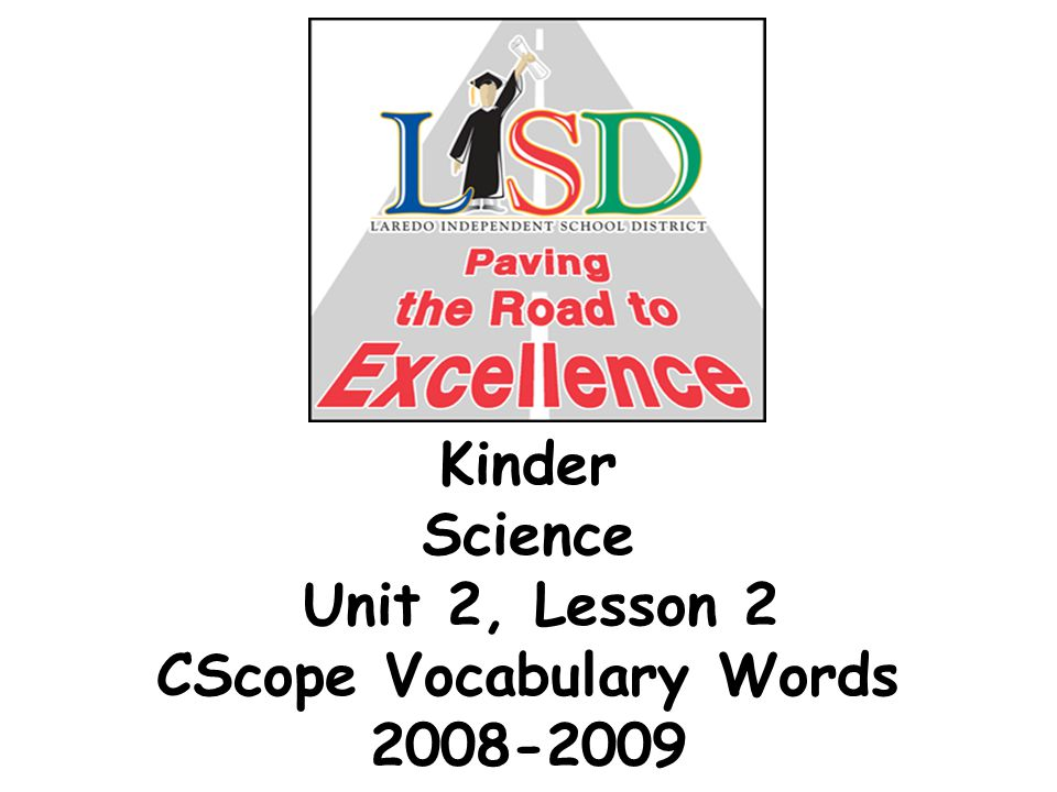 Kinder Science Unit 2, Lesson 2 CScope Vocabulary Words 2008-2009
