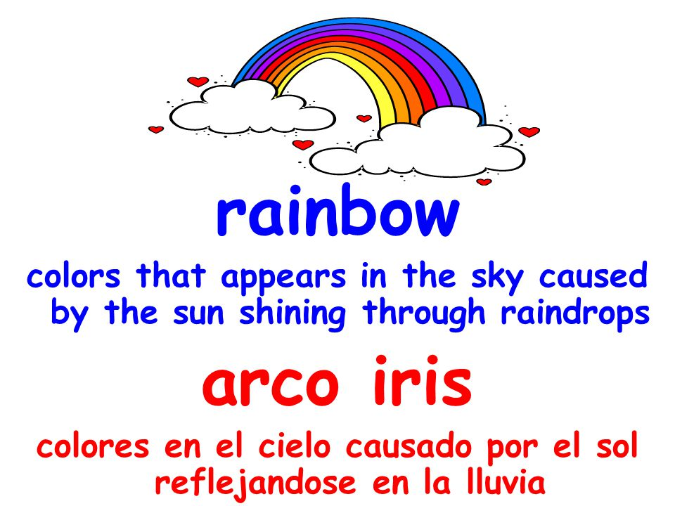 rainbow colors that appears in the sky caused by the sun shining through raindrops arco iris colores en el cielo causado por el sol reflejandose en la lluvia