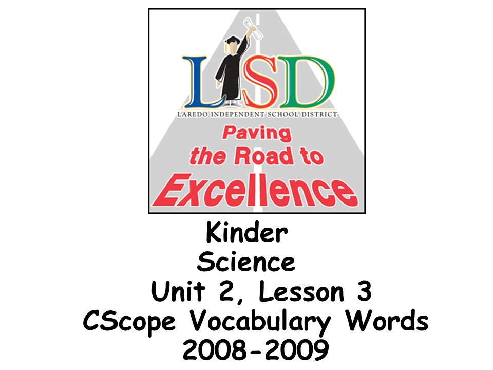 Kinder Science Unit 2, Lesson 3 CScope Vocabulary Words 2008-2009