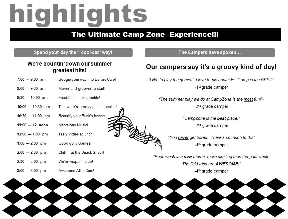 Spend your day the cool-cat way. The Ultimate Camp Zone Experience!!.