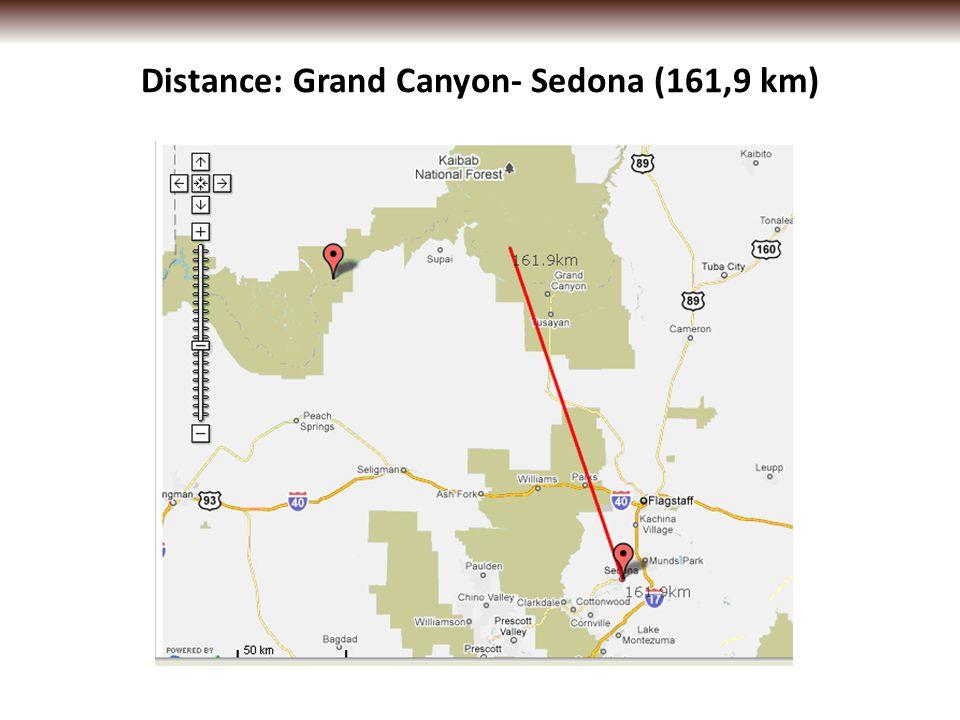 Distance: Grand Canyon- Sedona (161,9 km)