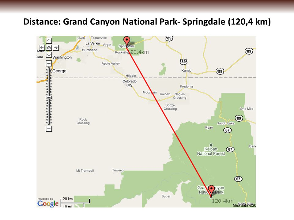 Distance: Grand Canyon National Park- Springdale (120,4 km)