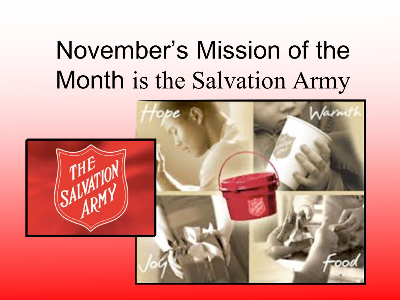 November's Mission of the Month is the Salvation Army