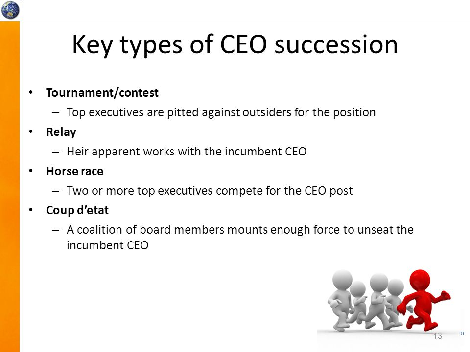 Key types of CEO succession 13 Tournament/contest – Top executives are pitted against outsiders for the position Relay – Heir apparent works with the incumbent CEO Horse race – Two or more top executives compete for the CEO post Coup d'etat – A coalition of board members mounts enough force to unseat the incumbent CEO