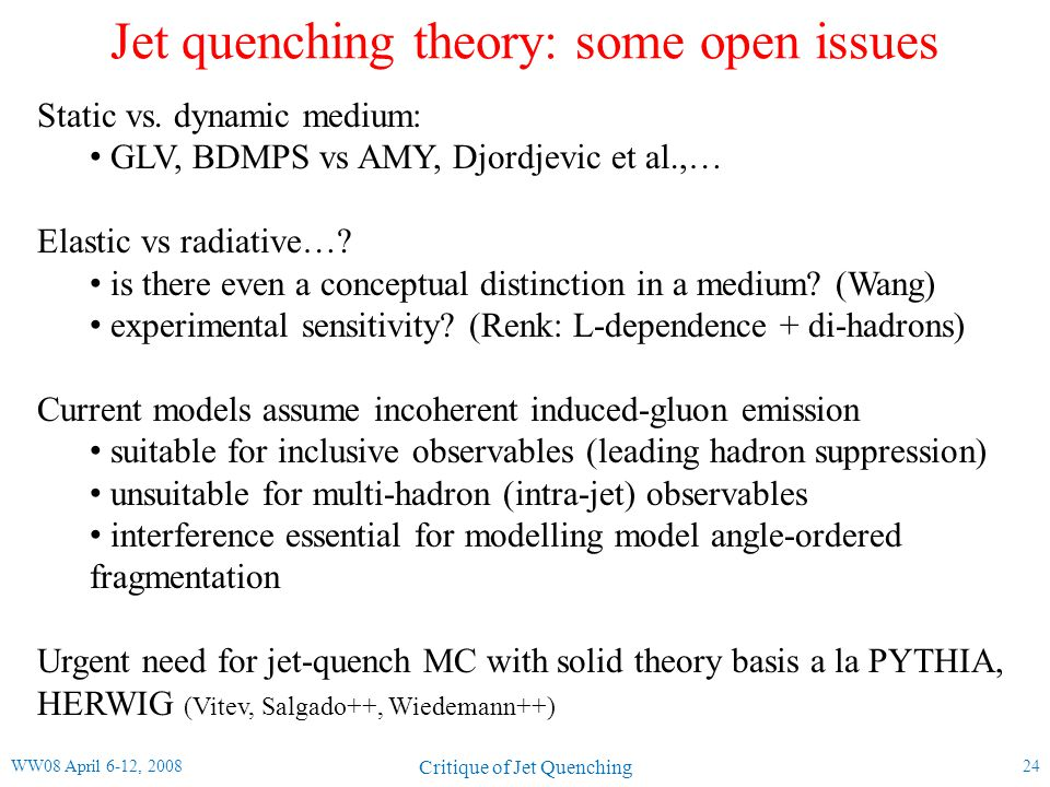 Jet quenching theory: some open issues WW08 April 6-12, 200824 Critique of Jet Quenching Static vs.