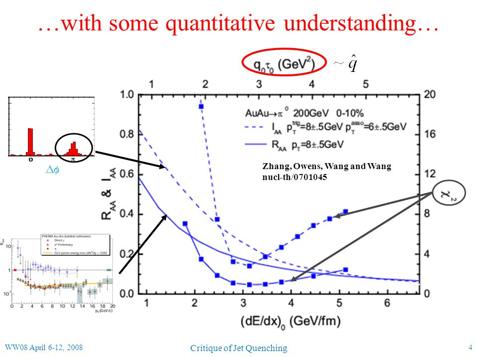 …with some quantitative understanding… 4 Zhang, Owens, Wang and Wang nucl-th/0701045  WW08 April 6-12, 2008 Critique of Jet Quenching