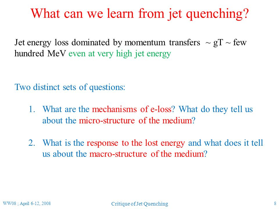 Comparison to 2-particle correlations (I) WW08 ; April 6-12, 2008 Critique of Jet Quenching 19 STAR, Phys Rev Lett 95, 152301