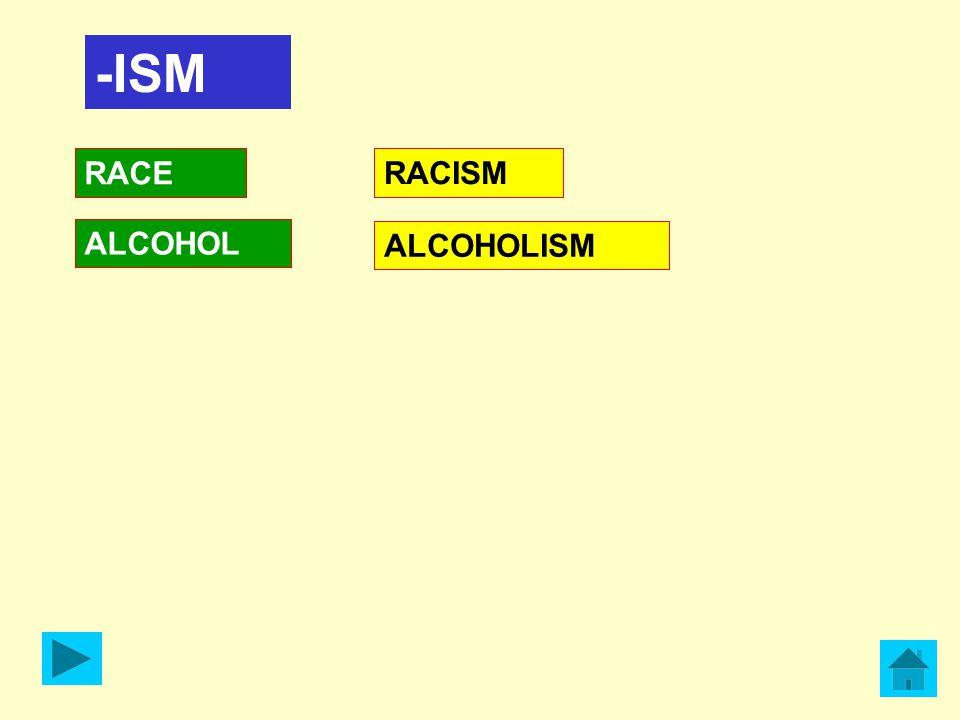 -ISM RACE ALCOHOL RACISM ALCOHOLISM