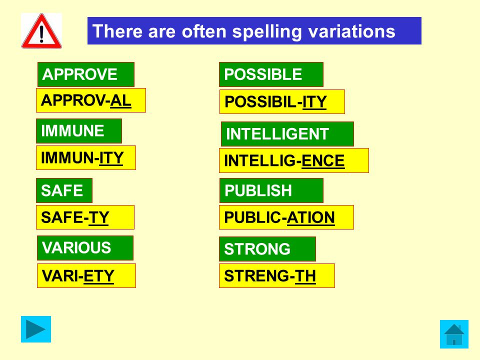 There are often spelling variations APPROVE SAFE VARIOUS IMMUNE STRONG PUBLISH APPROV-AL SAFE-TY VARI-ETY IMMUN-ITY POSSIBLE POSSIBIL-ITY PUBLIC-ATION STRENG-TH INTELLIGENT INTELLIG-ENCE