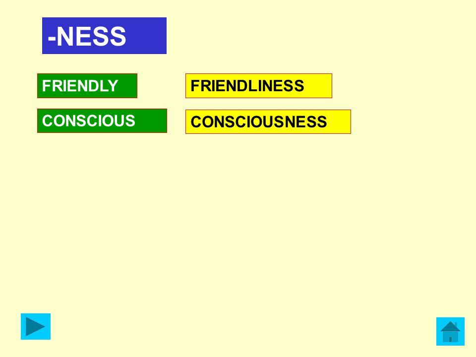 -NESS FRIENDLY CONSCIOUS FRIENDLINESS CONSCIOUSNESS
