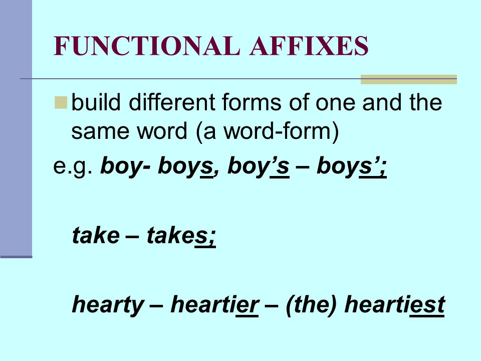 FUNCTIONAL AFFIXES build different forms of one and the same word (a word-form) e.g.