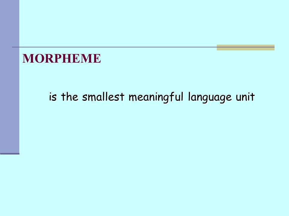 MORPHEME is the smallest meaningful language unit