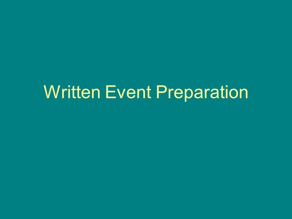 Written Event Preparation