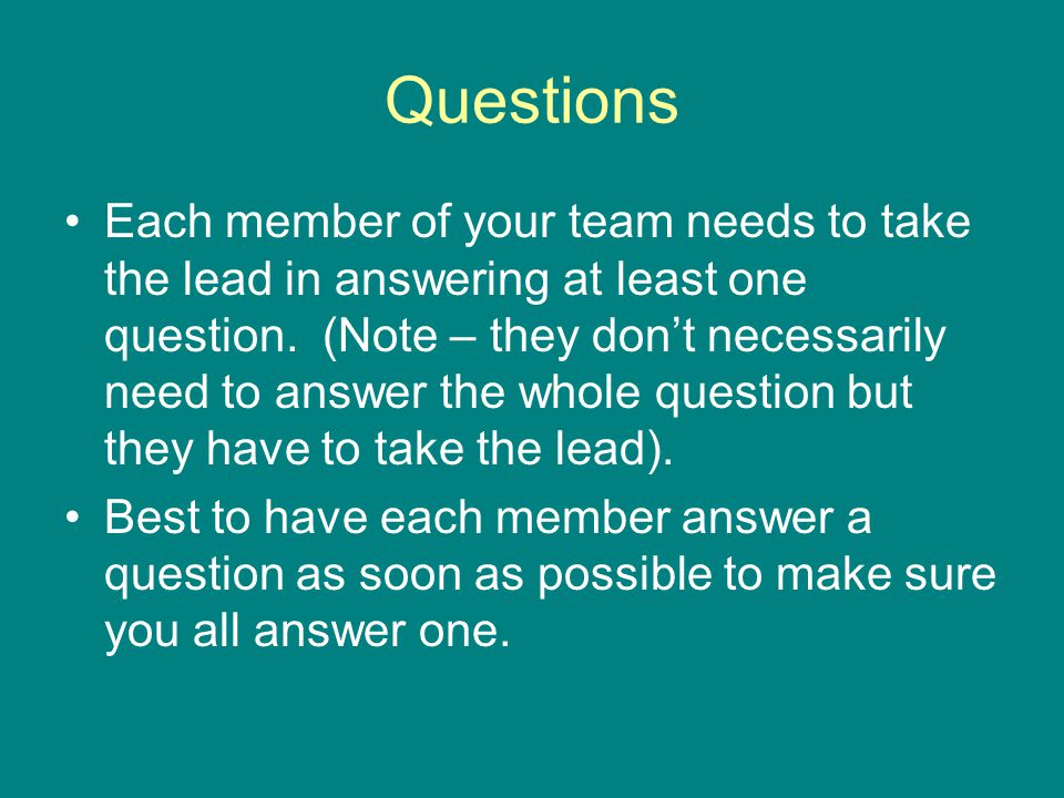 Questions Each member of your team needs to take the lead in answering at least one question.