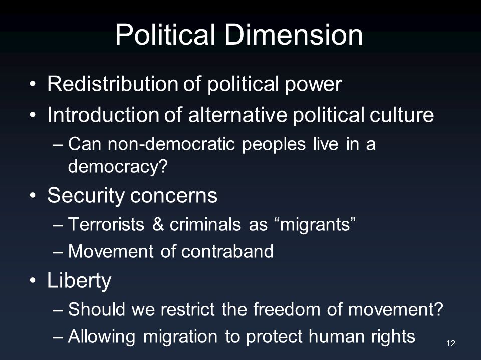 Political Dimension Redistribution of political power Introduction of alternative political culture –Can non-democratic peoples live in a democracy? S