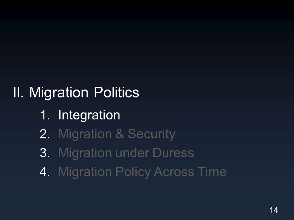II. Migration Politics 1. Integration 2. Migration & Security 3. Migration under Duress 4. Migration Policy Across Time 14