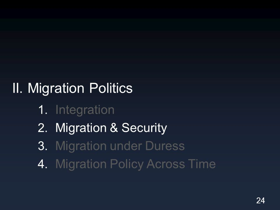 II. Migration Politics 1. Integration 2. Migration & Security 3. Migration under Duress 4. Migration Policy Across Time 24
