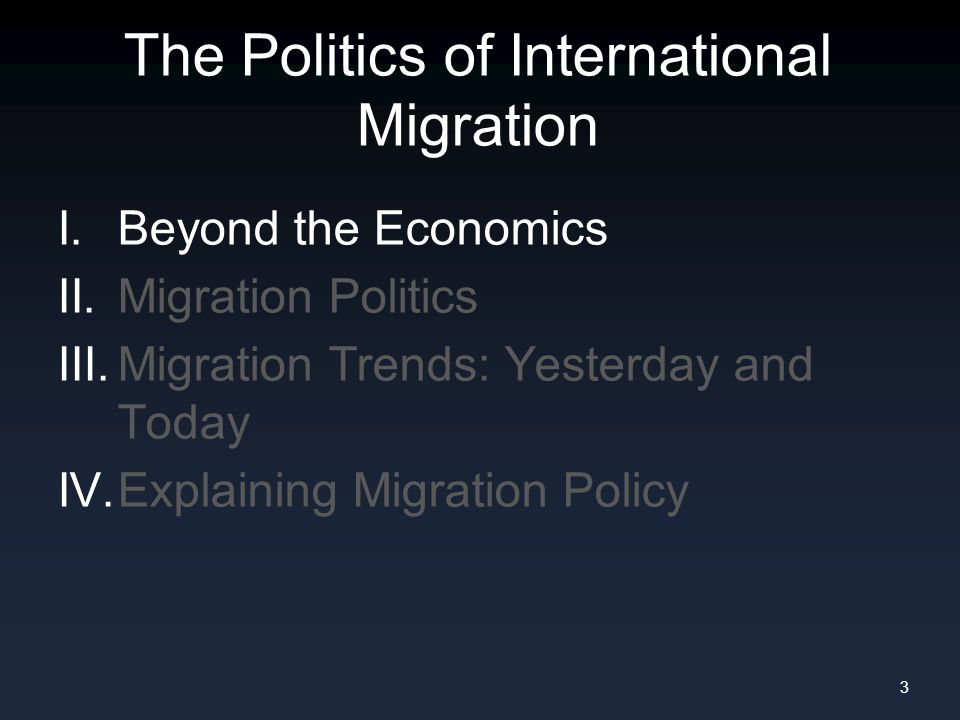 Last time, we thought about migration primarily as an economic phenomenon.
