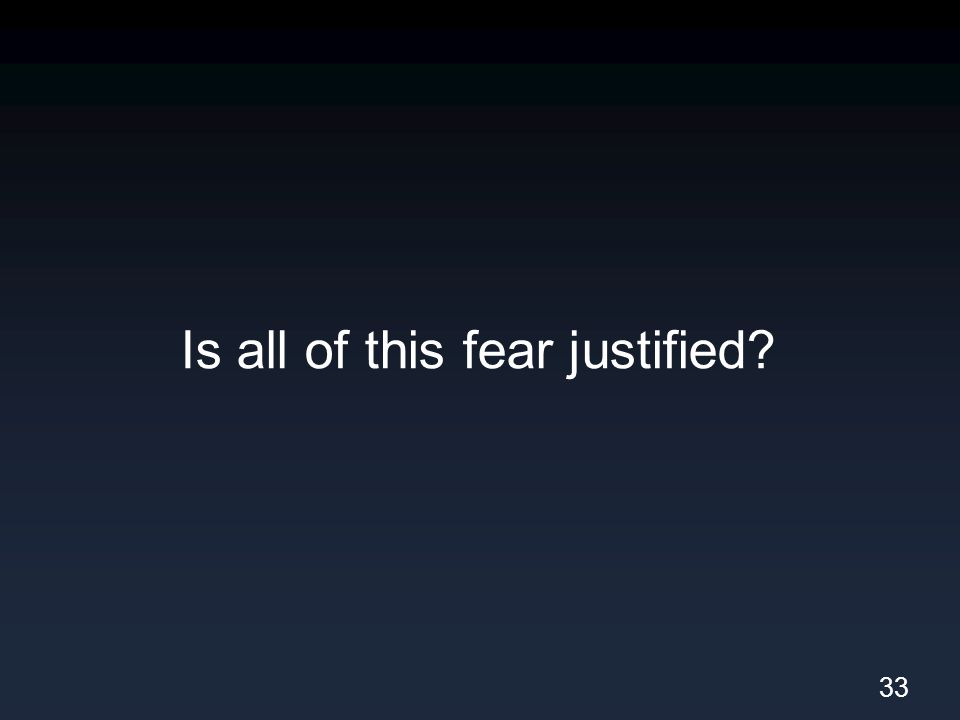 Is all of this fear justified? 33