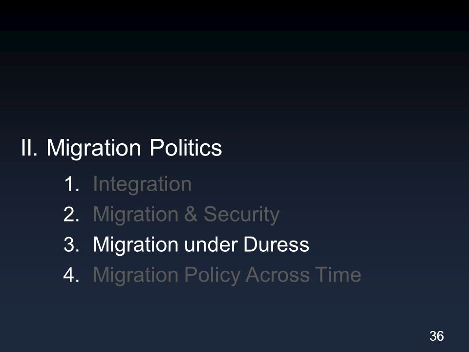 II. Migration Politics 1. Integration 2. Migration & Security 3. Migration under Duress 4. Migration Policy Across Time 36
