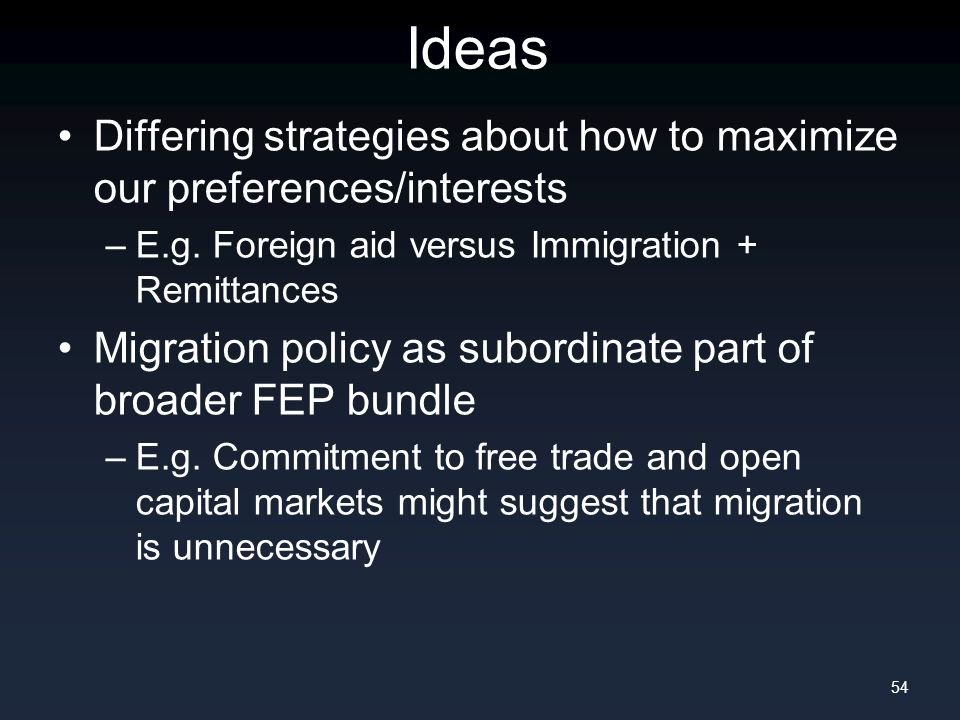 Ideas Differing strategies about how to maximize our preferences/interests –E.g. Foreign aid versus Immigration + Remittances Migration policy as subo