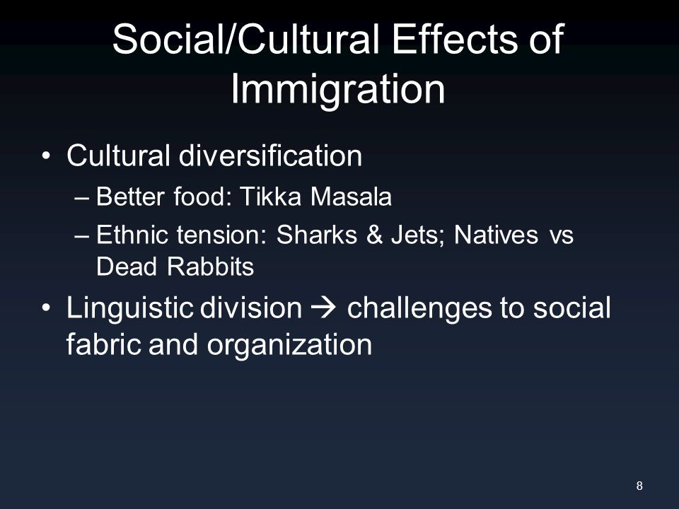 Social/Cultural Effects of Emigration Homogenization of population –E.g.