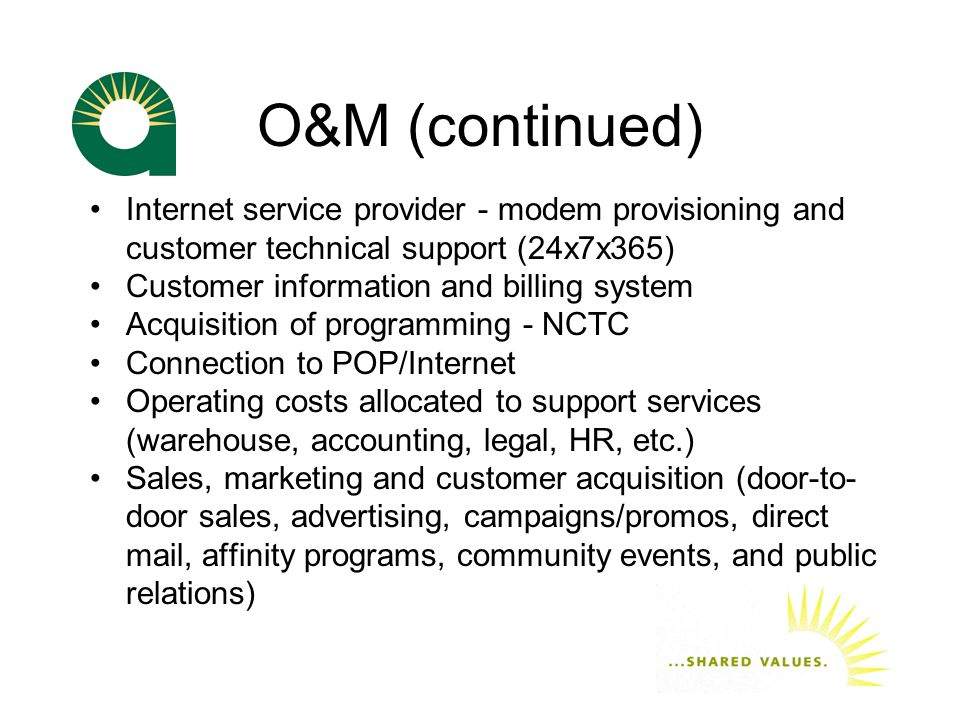 O&M (continued) Internet service provider - modem provisioning and customer technical support (24x7x365) Customer information and billing system Acquisition of programming - NCTC Connection to POP/Internet Operating costs allocated to support services (warehouse, accounting, legal, HR, etc.) Sales, marketing and customer acquisition (door-to- door sales, advertising, campaigns/promos, direct mail, affinity programs, community events, and public relations)