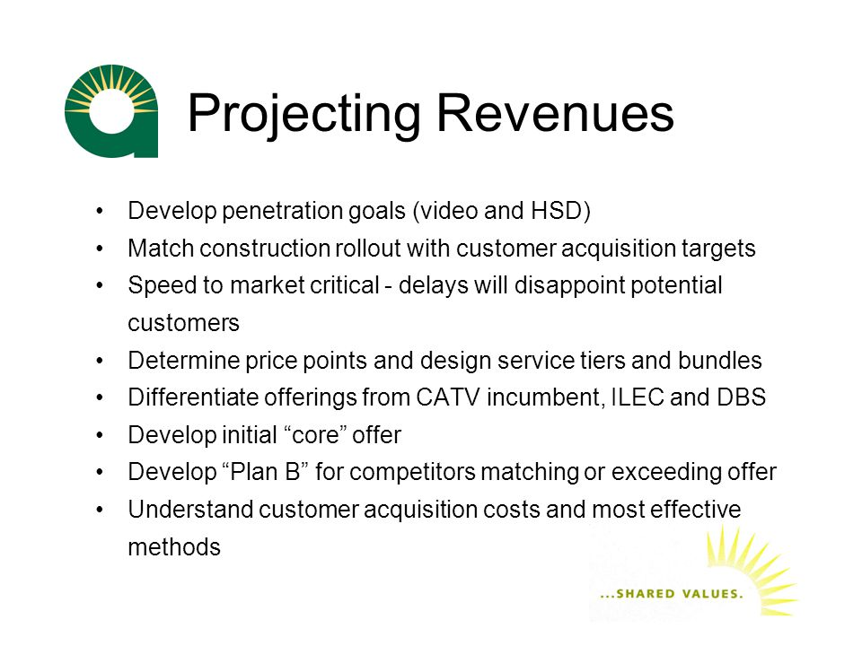 Projecting Revenues Develop penetration goals (video and HSD) Match construction rollout with customer acquisition targets Speed to market critical - delays will disappoint potential customers Determine price points and design service tiers and bundles Differentiate offerings from CATV incumbent, ILEC and DBS Develop initial core offer Develop Plan B for competitors matching or exceeding offer Understand customer acquisition costs and most effective methods