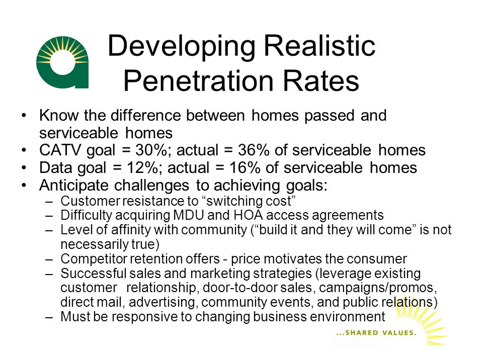Developing Realistic Penetration Rates Know the difference between homes passed and serviceable homes CATV goal = 30%; actual = 36% of serviceable homes Data goal = 12%; actual = 16% of serviceable homes Anticipate challenges to achieving goals: –Customer resistance to switching cost –Difficulty acquiring MDU and HOA access agreements –Level of affinity with community ( build it and they will come is not necessarily true) –Competitor retention offers - price motivates the consumer –Successful sales and marketing strategies (leverage existing customer relationship, door-to-door sales, campaigns/promos, direct mail, advertising, community events, and public relations) –Must be responsive to changing business environment
