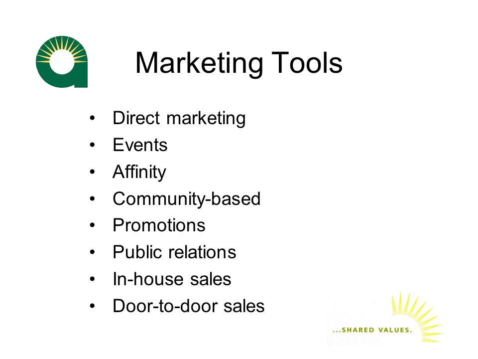 Marketing Tools Direct marketing Events Affinity Community-based Promotions Public relations In-house sales Door-to-door sales