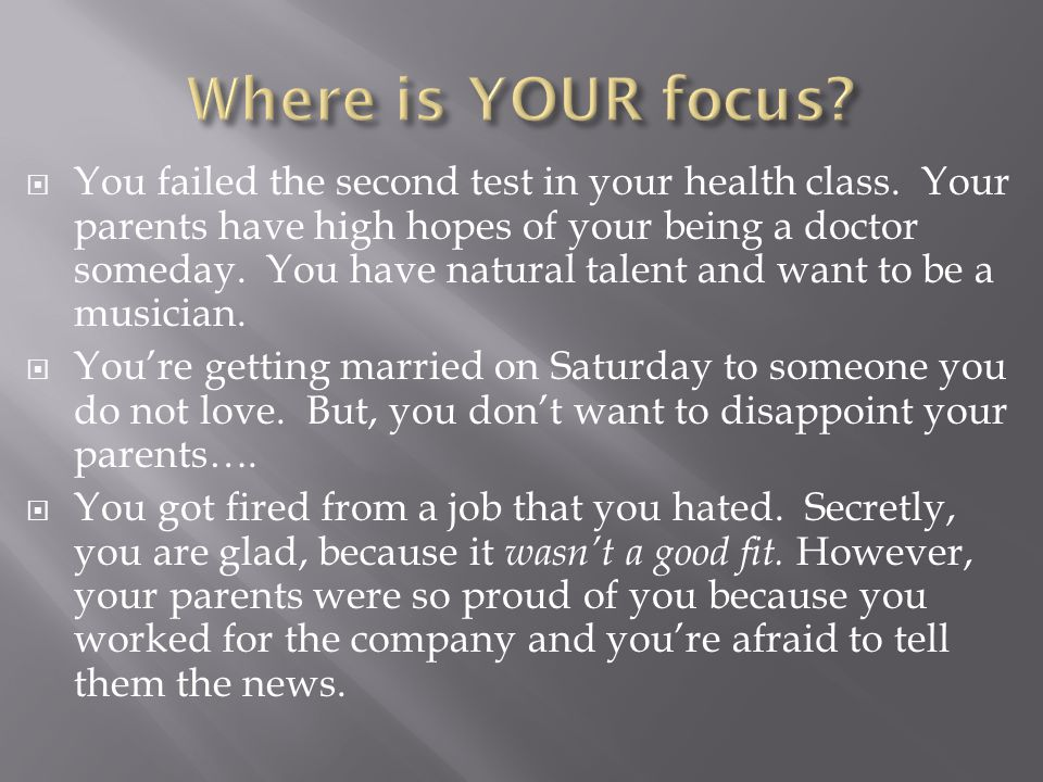  You failed the second test in your health class.