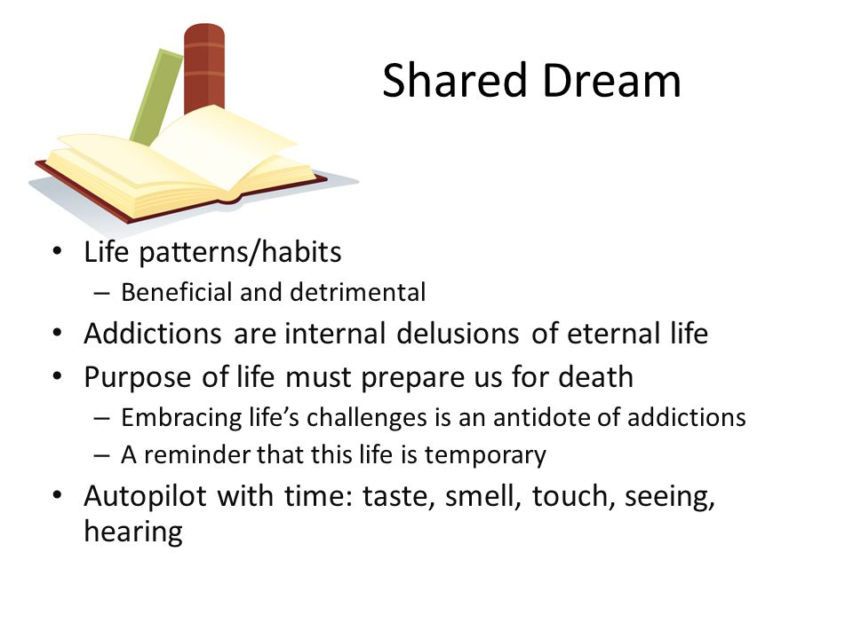 Shared Dream Life patterns/habits – Beneficial and detrimental Addictions are internal delusions of eternal life Purpose of life must prepare us for death – Embracing life's challenges is an antidote of addictions – A reminder that this life is temporary Autopilot with time: taste, smell, touch, seeing, hearing