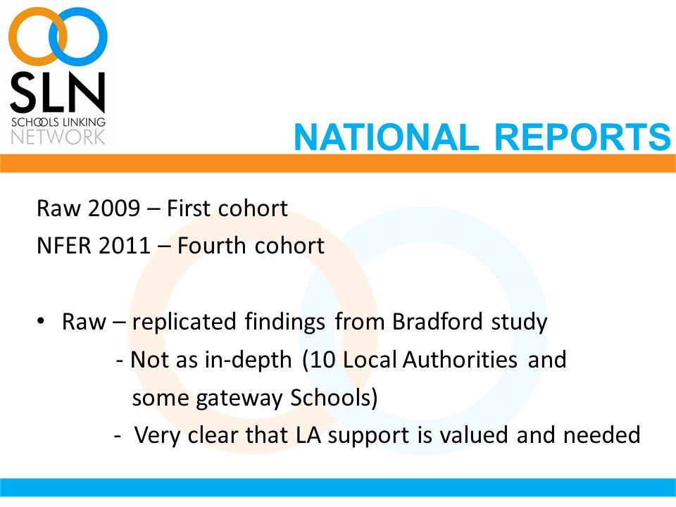 Raw 2009 – First cohort NFER 2011 – Fourth cohort Raw – replicated findings from Bradford study - Not as in-depth (10 Local Authorities and some gateway Schools) - Very clear that LA support is valued and needed NATIONAL REPORTS
