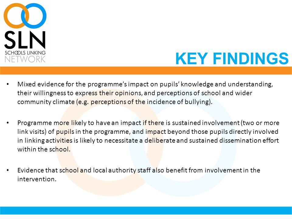 Mixed evidence for the programme's impact on pupils' knowledge and understanding, their willingness to express their opinions, and perceptions of school and wider community climate (e.g.