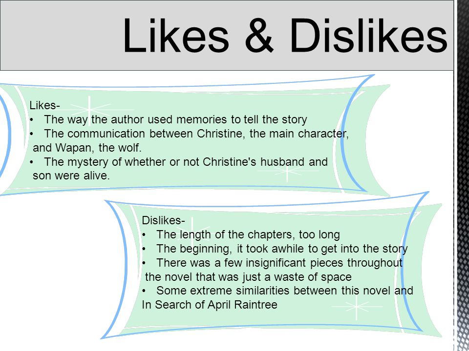Likes- The way the author used memories to tell the story The communication between Christine, the main character, and Wapan, the wolf.