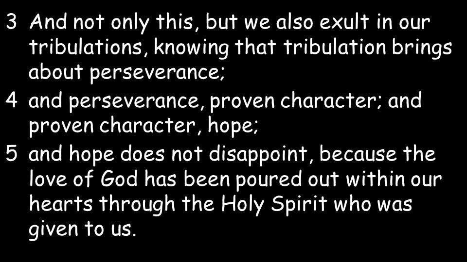 3And not only this, but we also exult in our tribulations, knowing that tribulation brings about perseverance; 4and perseverance, proven character; and proven character, hope; 5and hope does not disappoint, because the love of God has been poured out within our hearts through the Holy Spirit who was given to us.