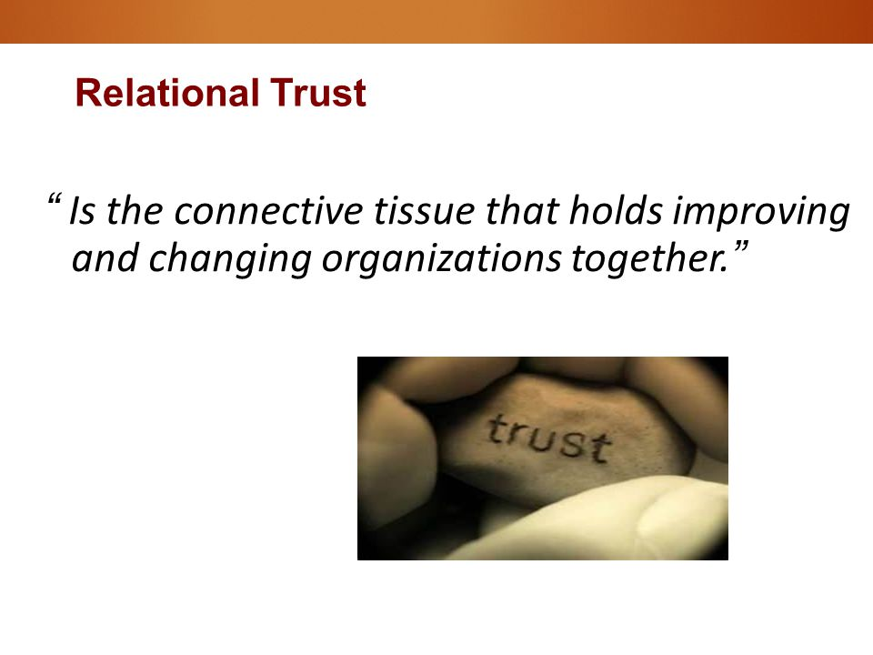 """"""" Is the connective tissue that holds improving and changing organizations together."""" Relational Trust"""